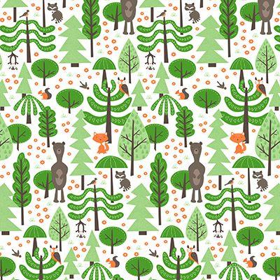 Wildwood in Grass, Medium by Liz Ablashi for Modern Yardage