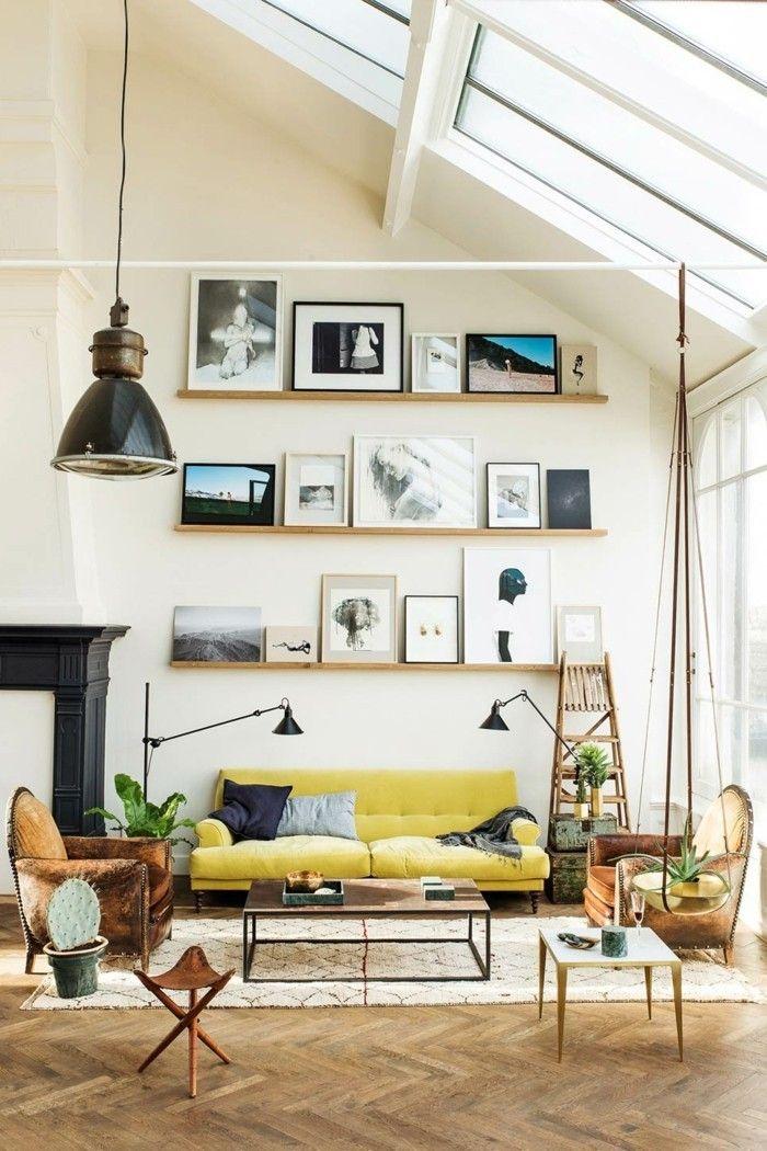 Wohnideen Wohnzimmer Eklektischer Stil Wanddeko Bilderleisten