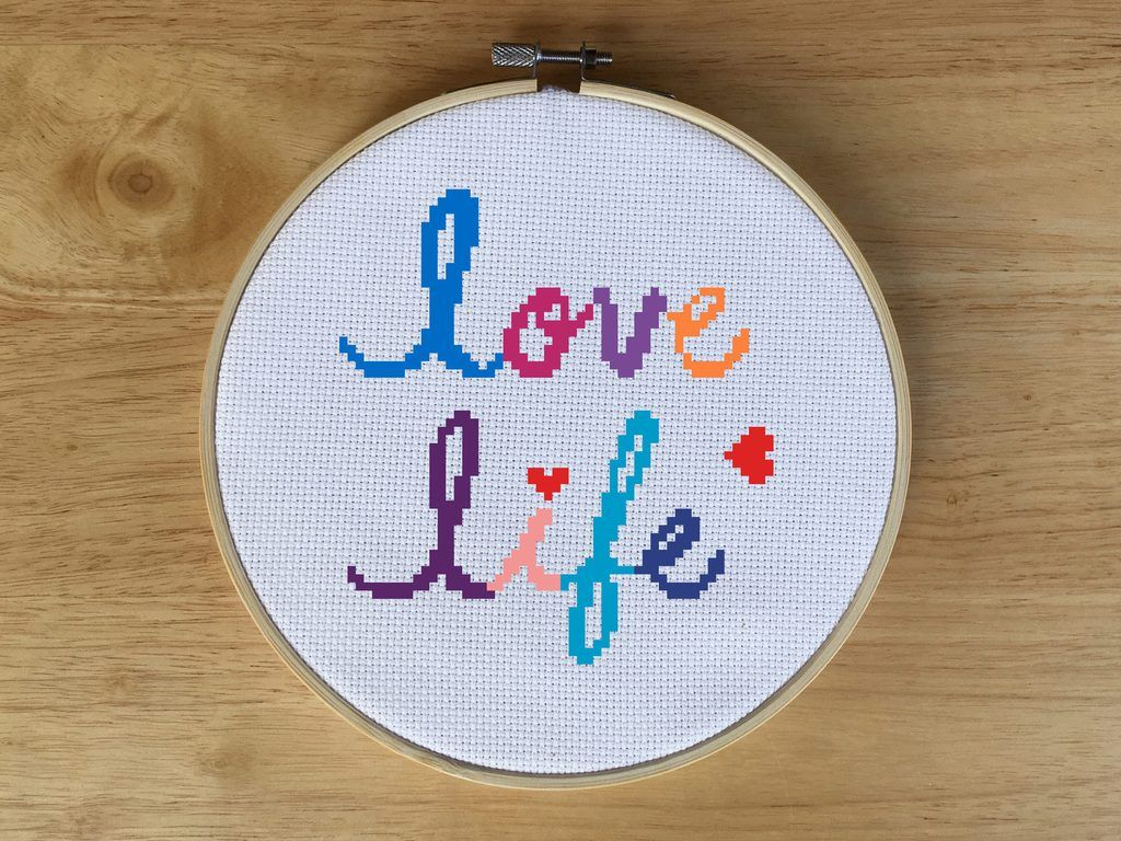 Quote cross stitch kit love life cross stitch cross stitch kits