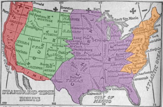 Time zone map of the United States 1913 colorized Time zone