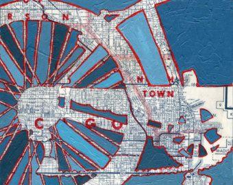 todos los derechos reservados © 2010 Leslie DeRose-2013   Título: Bicicleta Twin Cities Dimensiones: 11 x 11 de tamaño de imagen en papel mate de 13 x 13 Medio: Imprimir archivo de mi pintura de acrílico original  Las últimas ciudades gemelas de bicicleta es una impresión del mapa original mixta pintura. Vintage mapa de la zona es en el fondo y una silueta de una bicicleta había sido bosquejada y pintada en la parte superior.  El frente es firmado y titulado debajo de la imagen.  Imprimir…