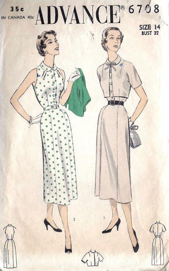 1950s Misses Dress and Bolero | camisas | Vestidos camiseros, Moda y ...