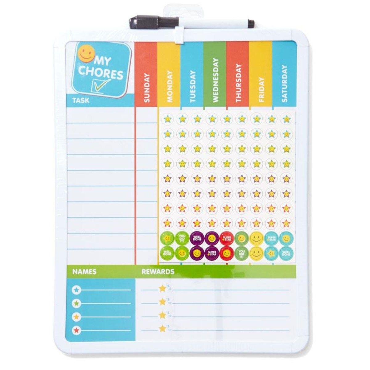 Budget chore chart from Kmart Australia. Printable chore