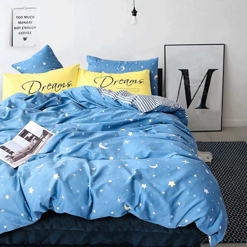 Blue Duvets And Bedding Sets Cartoon Bed Cover Moon Star Print Bedding Yellow Pillow Covers Striped Bed Striped Bed Sheets Yellow Bedding Yellow Pillow Covers
