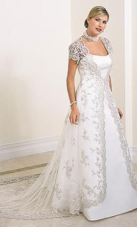 ab71f6793 Here's and idea--- Basic sheath dress with long lace jacket. Inspired by: Alfred  Angelo Wedding Dress 1755, Size 8