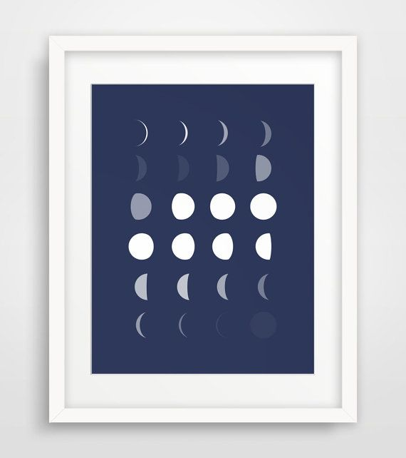 Navy Blue Wall Art moon print, printable navy art, moon wall art, moon nursery, navy