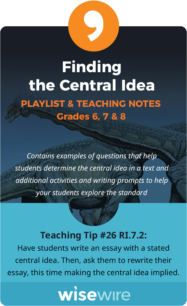 In This Playlist Students Explore Standard Ri 7 2 They Will Determine Two Or More Central Ideas In Teaching Middle School English Language Arts Central Idea