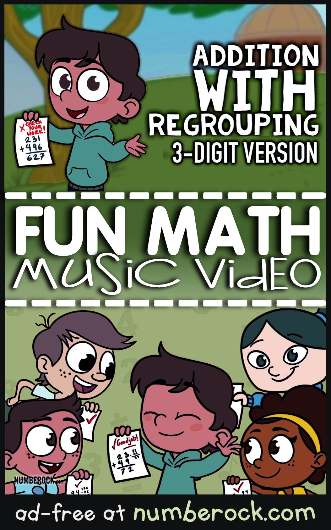 Addition With Regrouping Video 3 Digit Addition By Numberock Math Songs Regrouping Subtraction Activities Addition with regrouping video grade