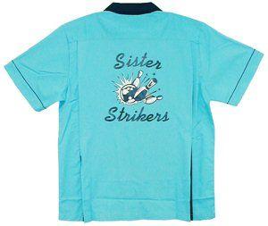 dd2212c6 Amazon.com: Sister Strikers Bowling Shirt Turquoise & Black Classic:  Clothing