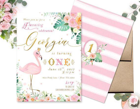 Flamingo Birthday Invitation Flamingo Invitation Pink Flamingo