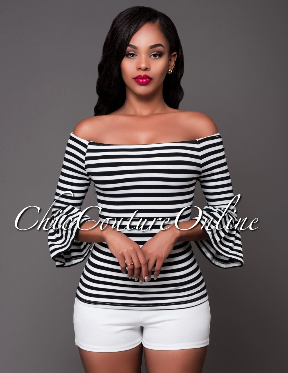 Chic Couture Online - Keona Black White Stripes Off-The-Shoulder Top.(http://www.chiccoutureonline.com/keona-black-white-stripes-off-the-shoulder-top/)