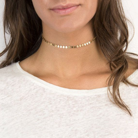 Coin Choker Necklace in Gold or Silver
