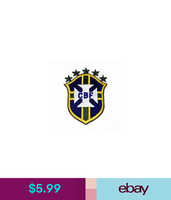 BRASIL 5 STARS SHIELD CBF LOGO FIFA ..CUP IRON-ON PATCH CREST BADGE 3.25X2.5 IN.