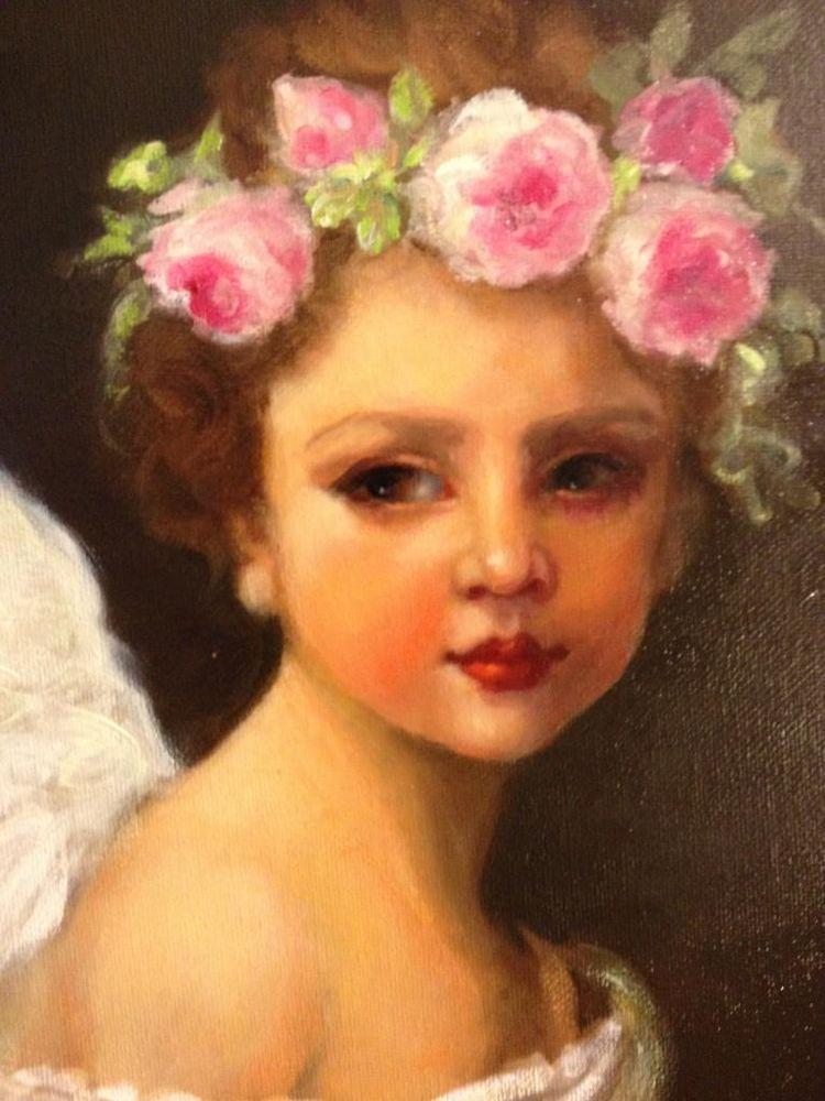 GORGEOUS SHABBY CHIC CHERUB Garland of Pink RosesCANVAS PRINT