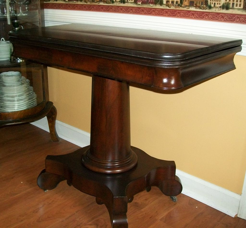Antique Empire Game Card Table Center Table Flame Mahogany