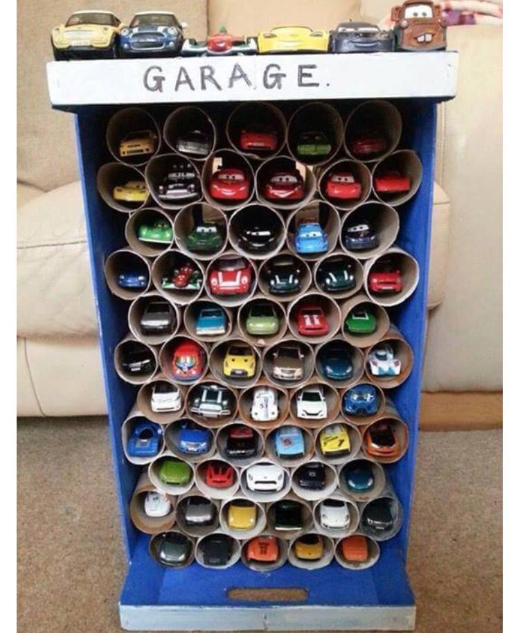 Up cycle- toilet paper towel roll idea: garage for matchbox cars