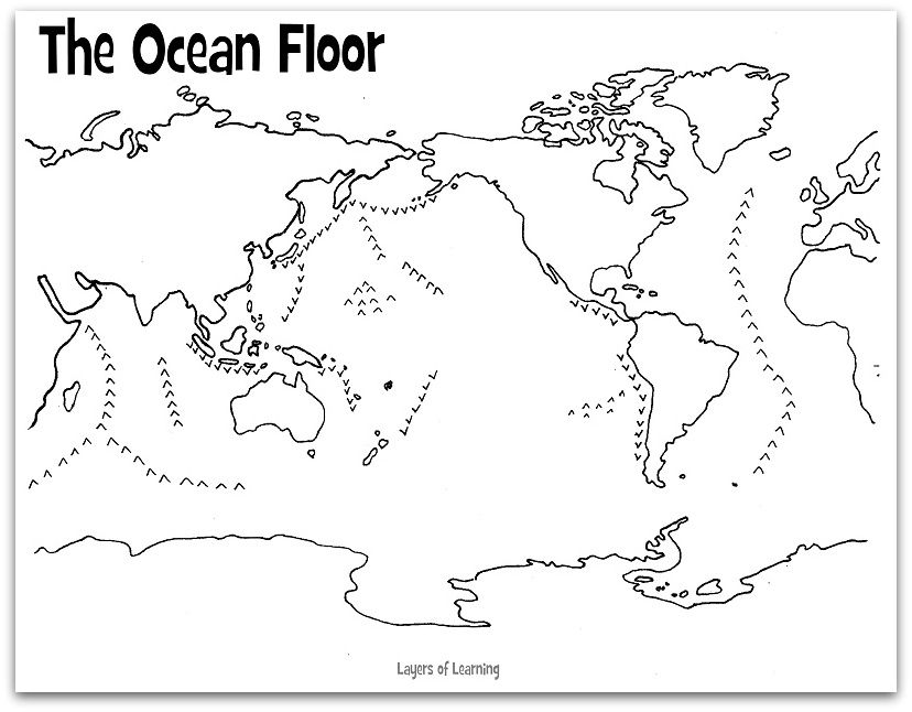 A Free Printable Map Of The Ocean Floor To Label And Color