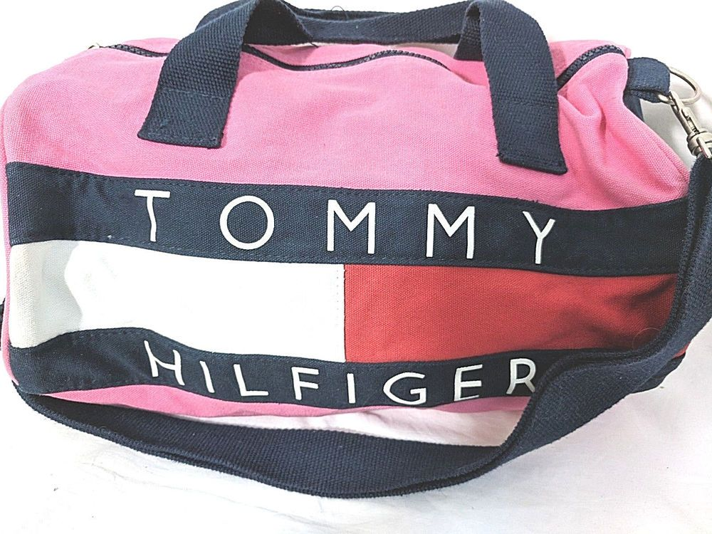 2f45d0fc20c6 Tommy Hilfiger Mini Duffle Bag Gym Bag Cotton Canvas Pink Red White Blue   TommyHilfiger  DuffleGymBag