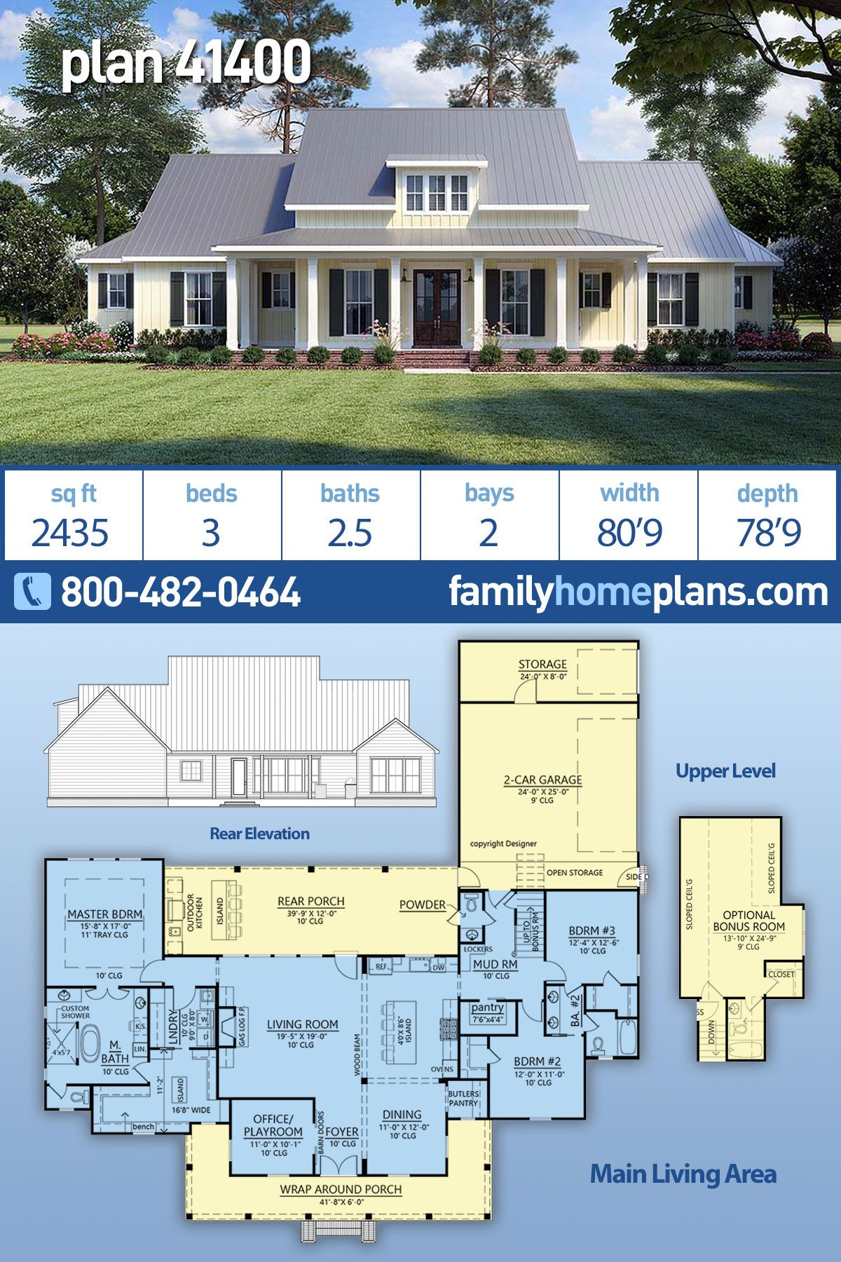Traditional Style House Plan 41400 With 3 Bed 3 Bath 2 Car Garage Family House Plans Dream House Plans Modern Farmhouse Plans
