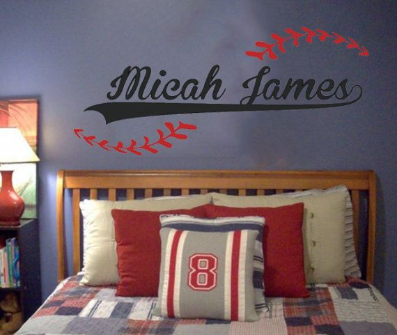 Baseball theme wall decal for my son 39 s sports theme room for Baseball bedroom ideas