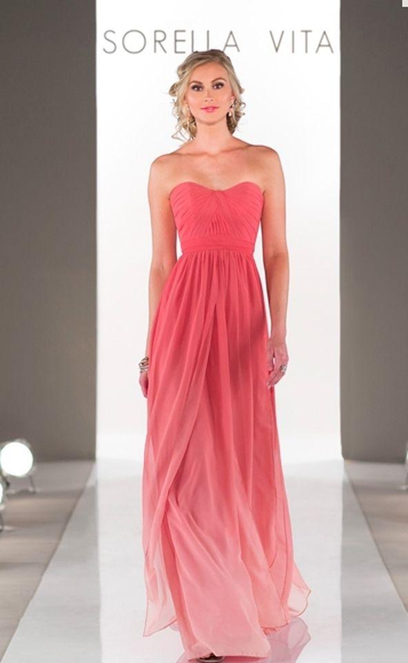 Coral Ombre Chiffon 8472 Feminine Bridesmaid/Mob Dress | Pinterest ...