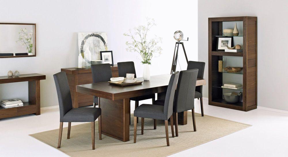 Bentley Designs Akita Walnut Dining Set  6 Seater Panel Table Magnificent Walnut Dining Room Sets Inspiration Design