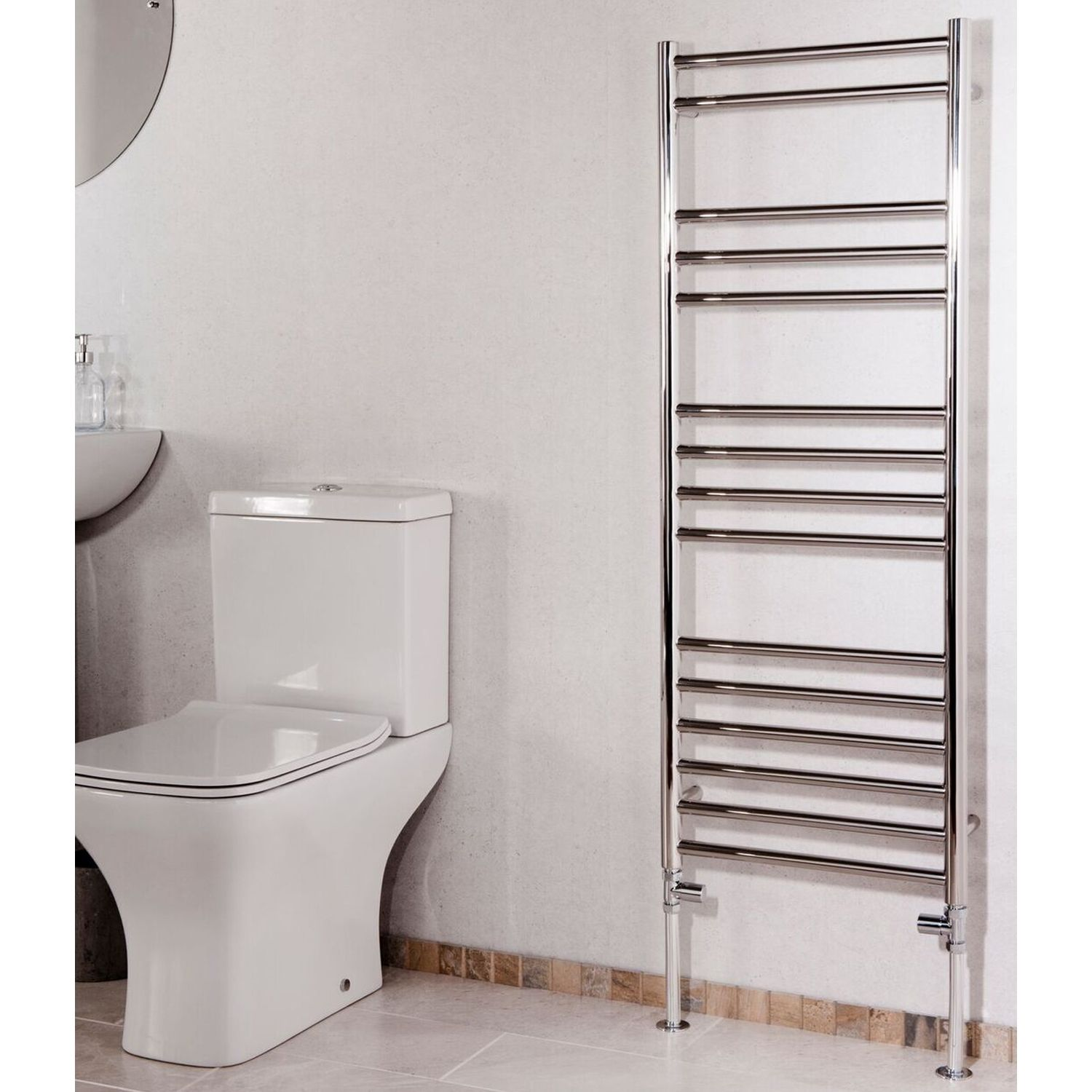 Cali Luxe Straight Heated Towel Rail 1200mm H X 450mm W Stainless Steel Towel Rail Heating And Plumbing Chrome