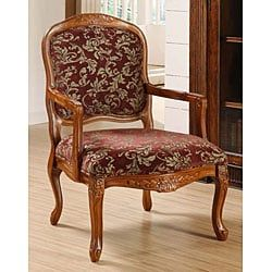 Curved Arm Merlot Floral Chair Floral Chair Upholstered