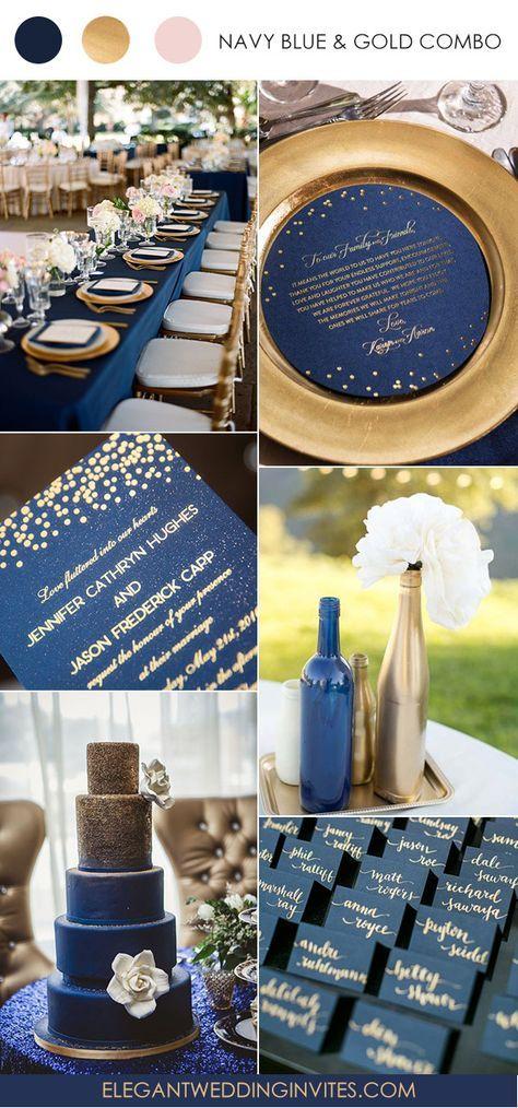 foil gold polka dots and navy blue wedding invitation EWFI024 ...