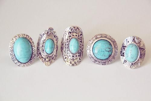 Turquoise and Silver Rings. Beautiful.
