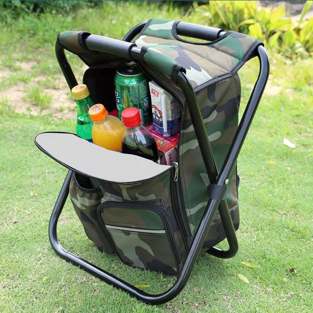Zology Folding Camping Chair Stool Backpack with Cooler