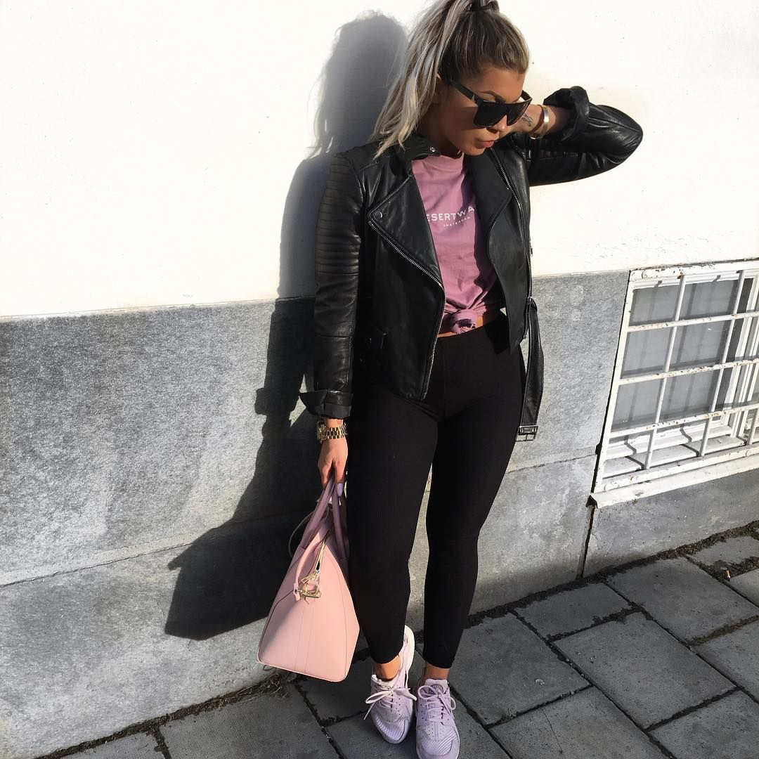 Leather jacket instagram - Leather Jacket And Pink Purse