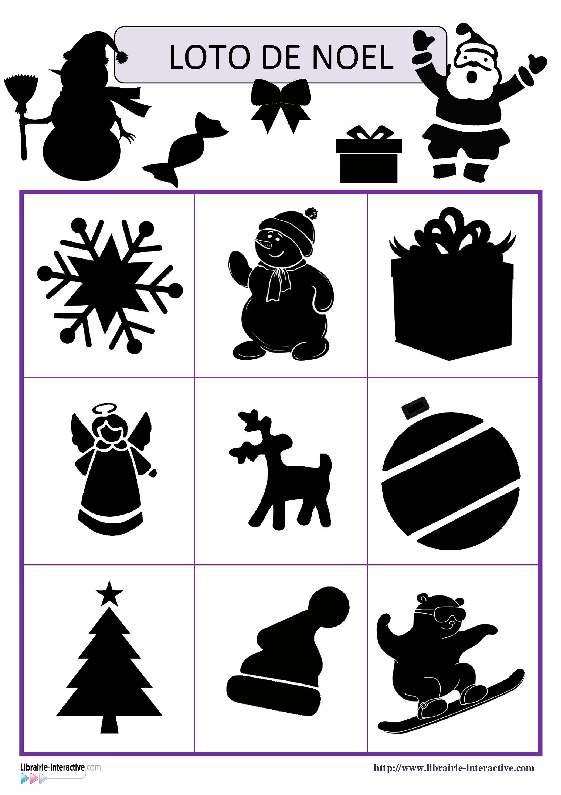 Deux jeux de loto avec 18 ou 27 images ombres et contours - Plan de table noel ...