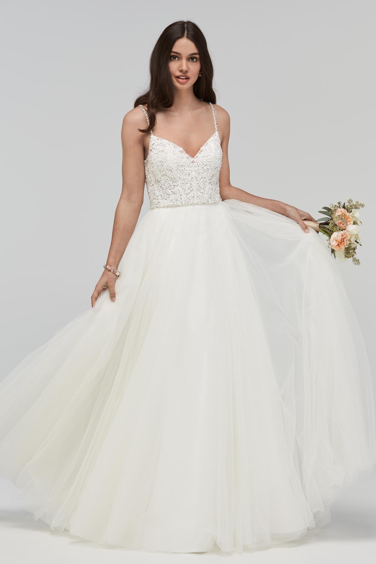 Beaded spaghetti strap wedding dresses  Watters  Jura gown Beaded spaghetti strap bodice with a full