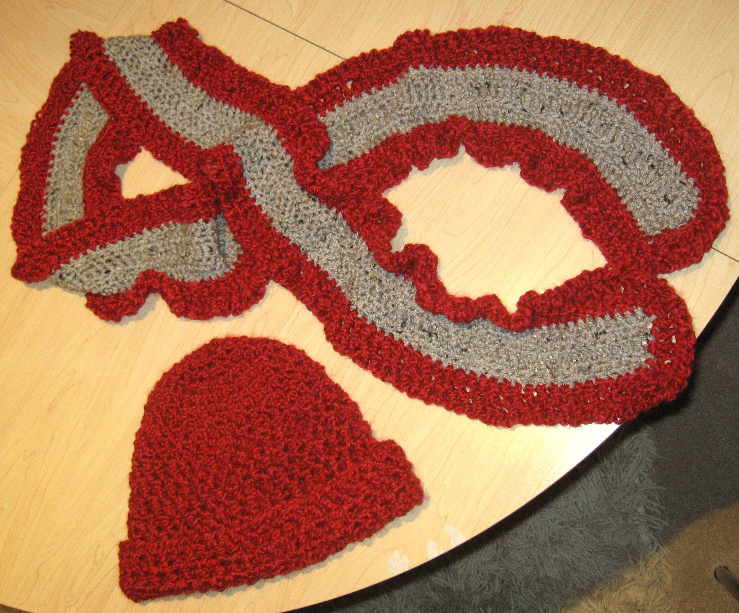 Burgundy and grey hat and scarf set. Would go nicely with a grey coat.