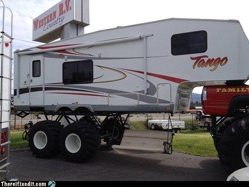 Funny Rv Every Monster Truck Deserves A Monster Rv Jacked Up