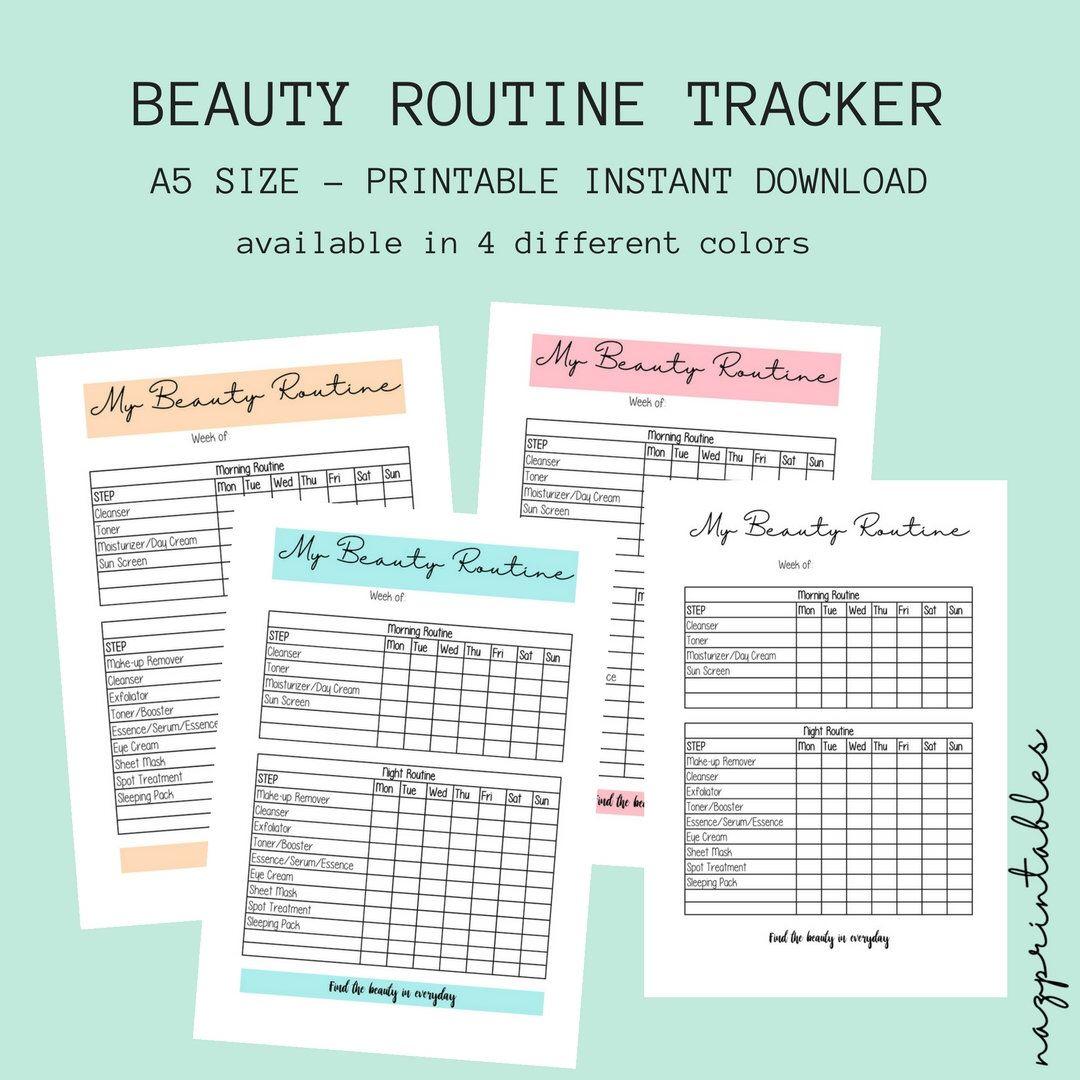 printable beauty routine beauty tracker skincare tracker skincare