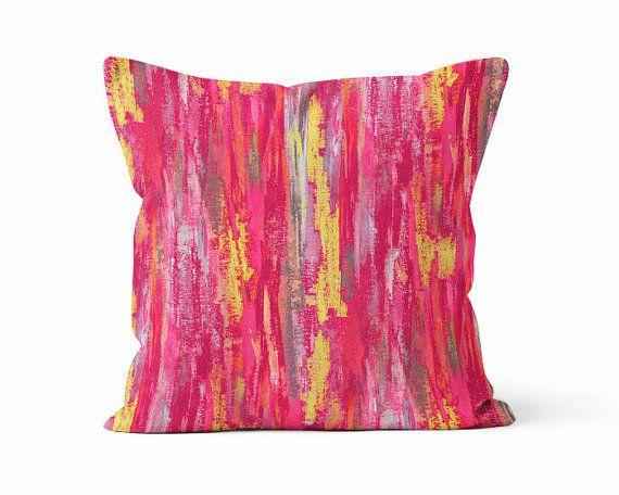 Abstract Pillow Cover Pink Grey Yellow Fuschia Modern Home Decor ...
