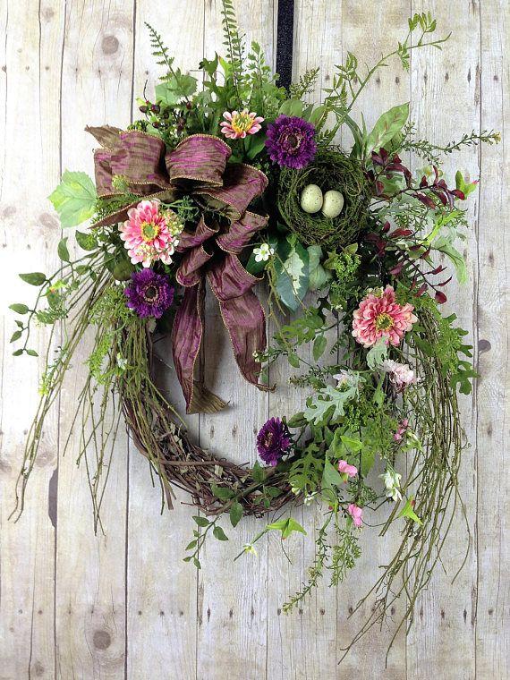 Spring Wreath Summer Front Door Purple Grapevine Outdoor Twiggy Wildflower