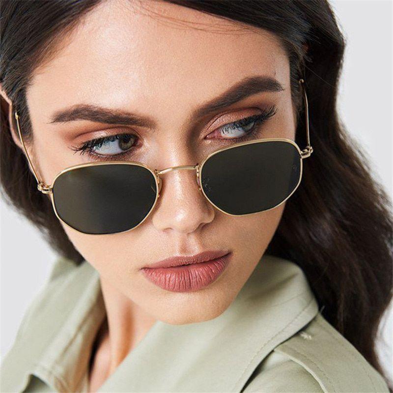 a928e58b41334 2018 New Fashion Polygon Sunglasses Women Men Brand Designer Vintage Clear  Sun Glasses Sexy Couple Eyewear UV400