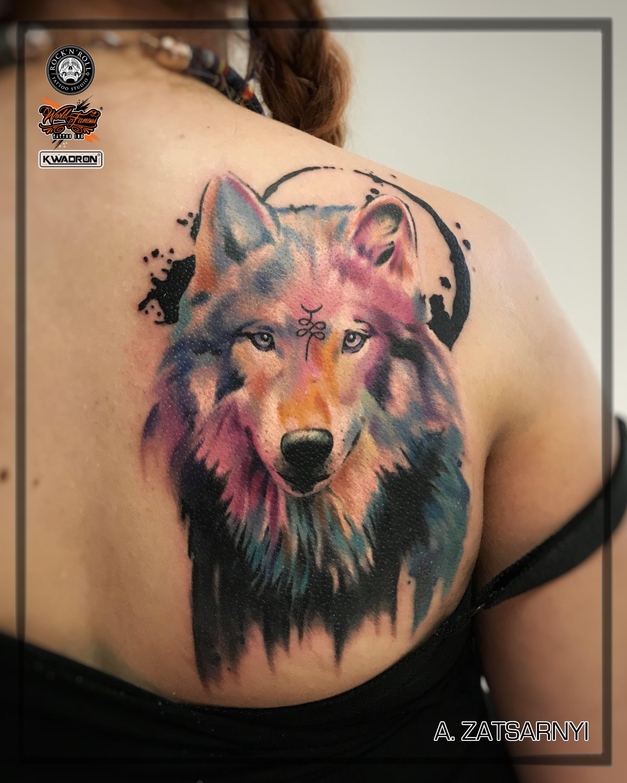1329fa45b tattoo, wolf tattoo, watercolor tattoo, female tattoo, tattooed girl ...
