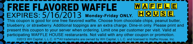 Pinned May 2nd Free flavored waffle at Waffle House