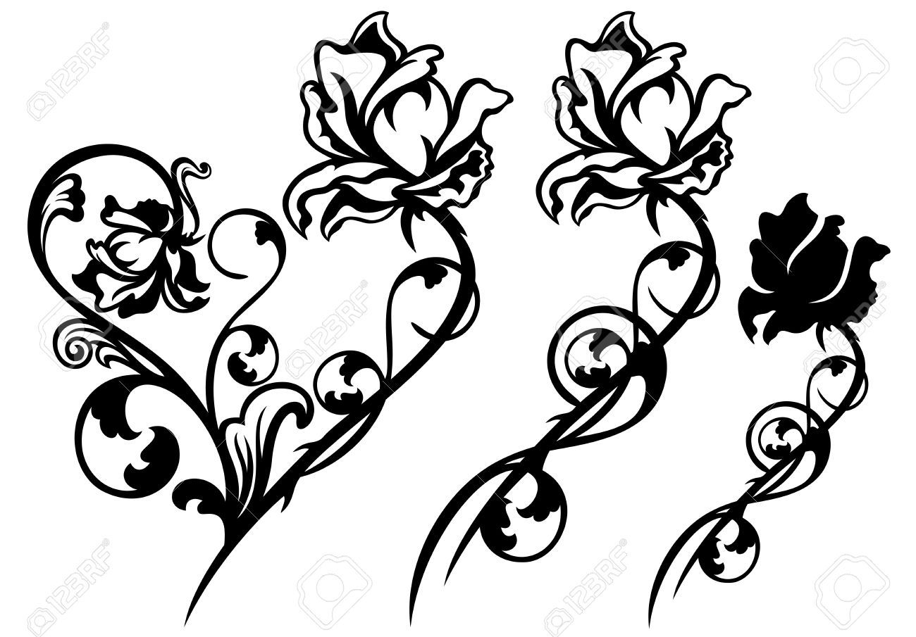 Line Art Rose Flower : Buds cliparts stock vector and royalty free illustrations
