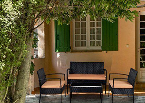 Rattan Patio 4 Piece Cushioned Seat Wicker Dining Sofa Set Furniture