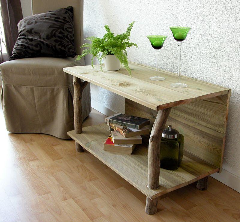 meuble tv en bois flotte et planches de
