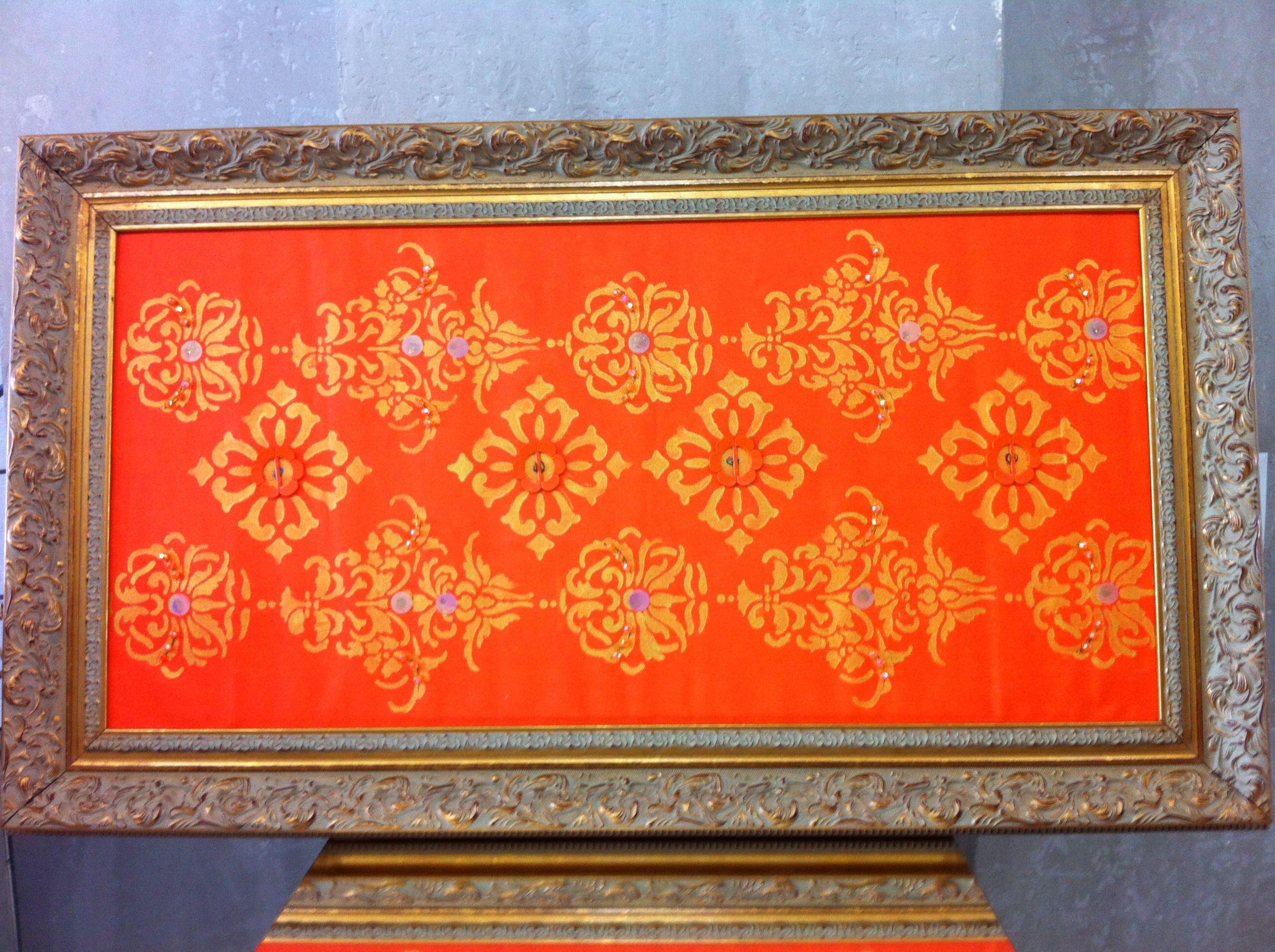 Tela Indiano Laranja em pintura acrilica e tecnica mista 2013 - 70x120 - acrylic on canvas - Melina Ollandezos