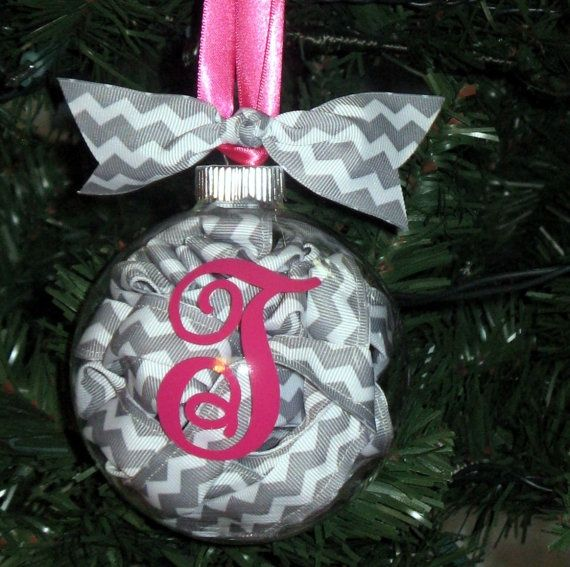 Chevron Christmas Ornaments Clear Ornament With Ribbon Coiled Inside And Initial On The Front