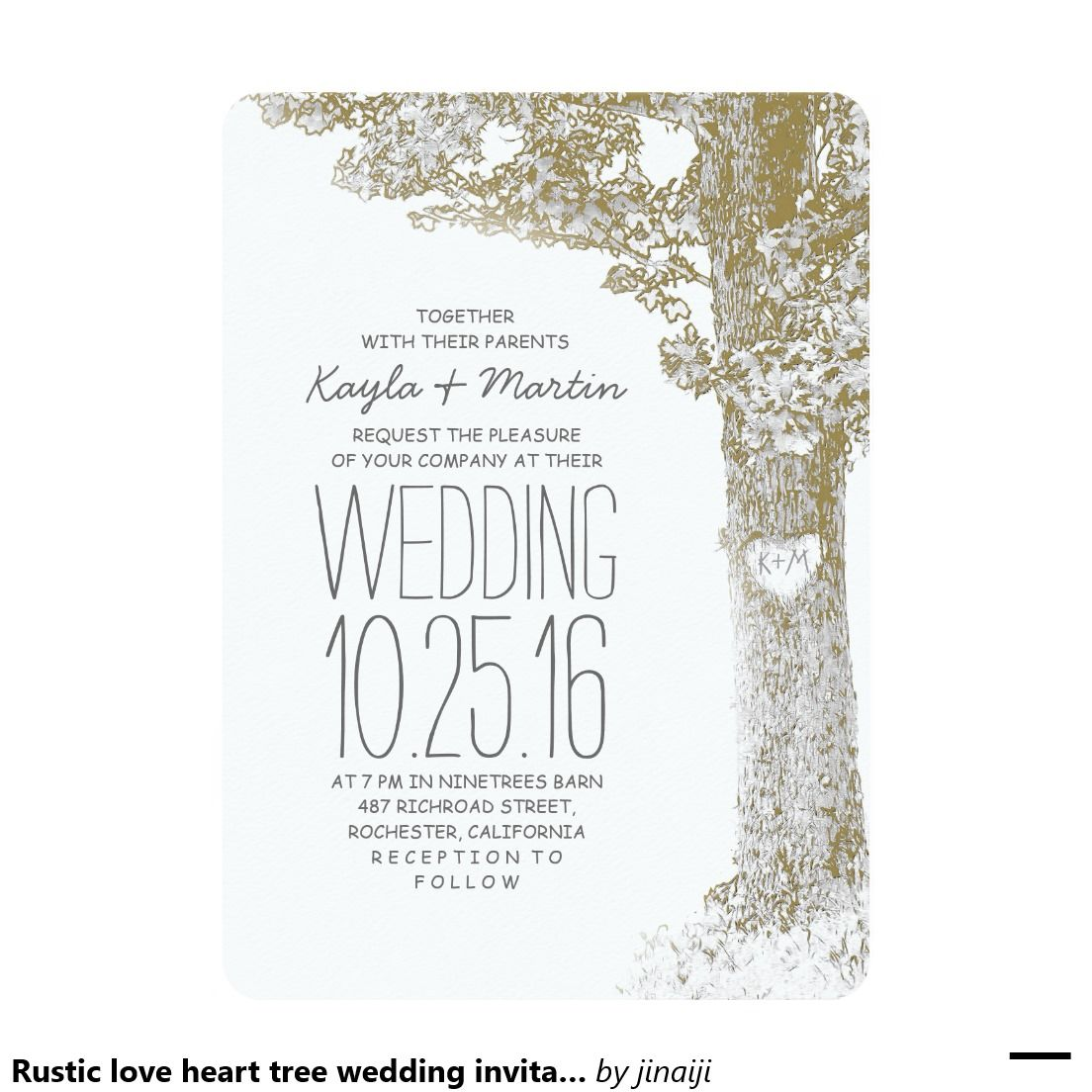 Rustic love heart tree wedding invitations | Heart tree and Wedding