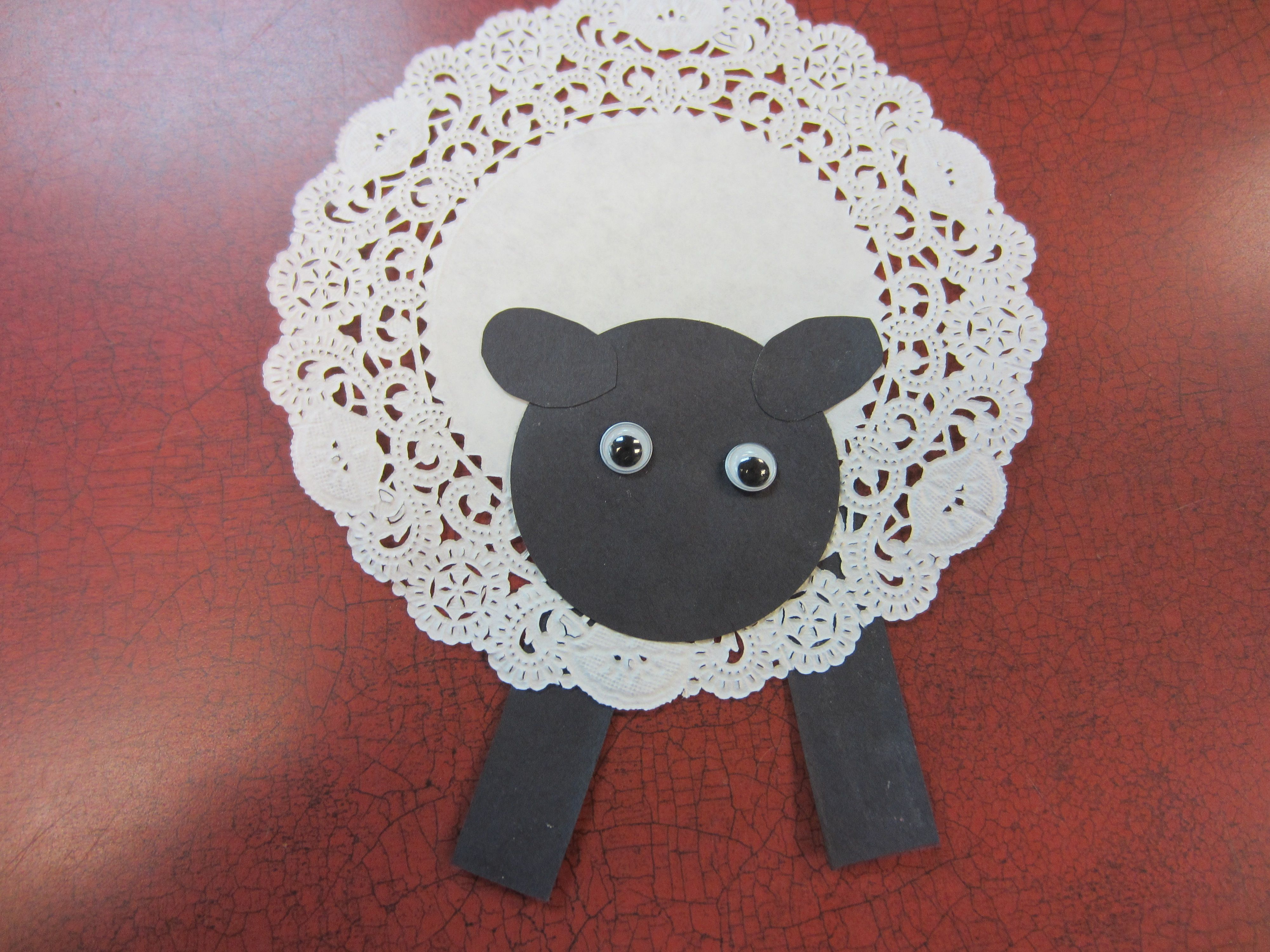 Doily sheep we made this sheep using a paper doily black doily sheep we made this sheep using a paper doily black construction paper jeuxipadfo Image collections
