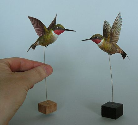 This model of the ruby throated hummingbird is available for Papercraft bird template